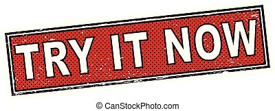 red try it now stamp square grunge sign