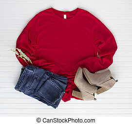 Red tshirt mockup with boots and jean. Pine cones mock up