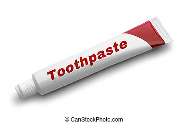 Toothpaste - Red Tube of Toothpaste Isolated on White...