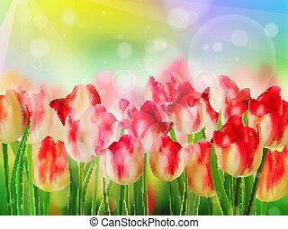 Red tulip bokeh template. EPS 10 - Red tulip bokeh template....