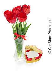 Red tulips and a gift box