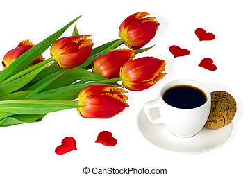 Red tulips and cup of coffee on white backgroung