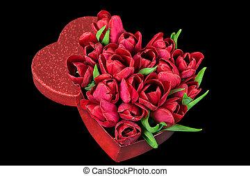 red tulips in glitter valentine box