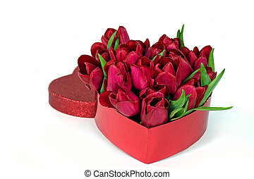 red tulips in heart shaped box