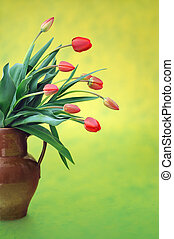 Red tulips in old jug over colored background