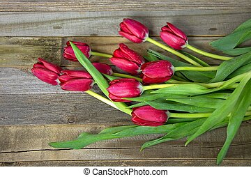 red tulips on wood