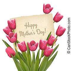 Red tulips with Happy Mother's Day note. Vector.