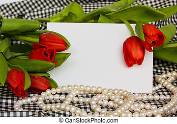 red tulips with pearls strand