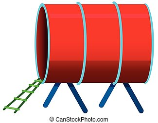 Red tunnel on white background