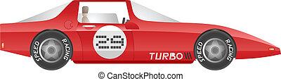 Red turbo car