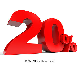 Red twenty percent off. Discount 20%. 3D illustration.
