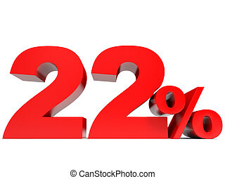 Red twenty two percent off. Discount 22%. 3D illustration.