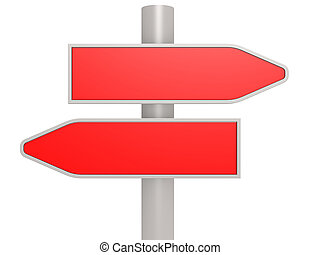 Red two direction road sign