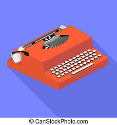 Red typewriter icon, flat style