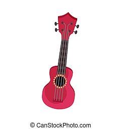 Red ukulele. Vector illustration on a white background.