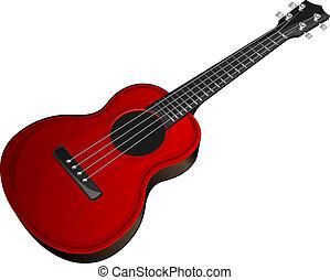 Red ukulele - Vector illustration red ukulele on white ...