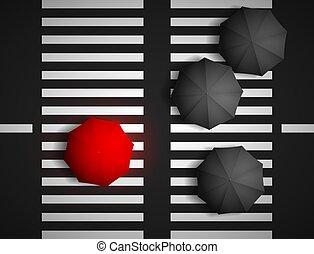 red umbrella and black umbrellas on a background of a pedestrian