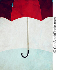 Red umbrella and rain