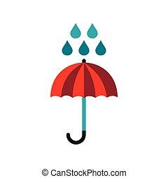 Red umbrella and rain drops icon, flat style