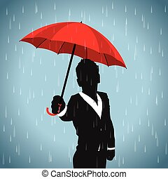 red umbrella business man