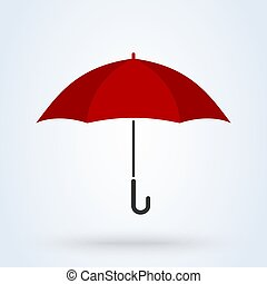 Red umbrella flat style. Vector illustration icon isolated on white background.