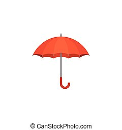 red umbrella icon, flat design vector