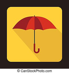 Red umbrella icon in flat style