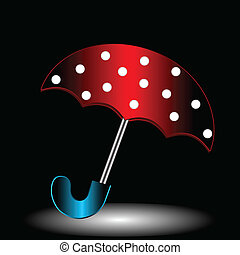 Red umbrella in a white speck on a black background