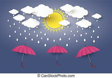 Red umbrella in blue sky with rain Paper art Style.vector Illusatration