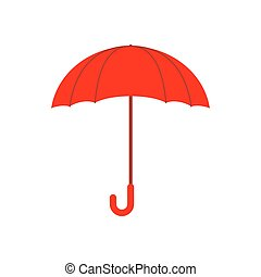 Red umbrella isolated. Accessory of rain on white background.