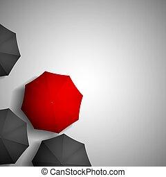 red umbrella on a background of black umbrellas