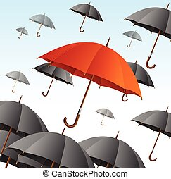 Red Umbrella on Black Fly High. Vector