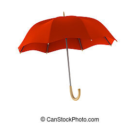 Red umbrella on white background