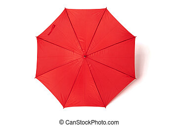 Red umbrella or parasol with red handle isolated on white...
