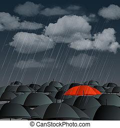 Red umbrella over many dark ones