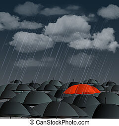 Red umbrella over many dark ones - Standing out from the...