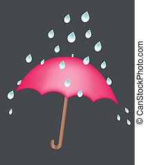 red umbrella under rain drops illustration concept safety keep dry and safe