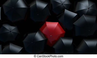 Red Umbrella Wades Through a Flow of Black Umbrellas, Leader in the Crowd Concept. Beautiful 3d Animation, 4K Ultra HD