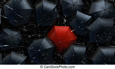 Red Umbrella Wades Through a Flow of Black Umbrellas. Leader in the Crowd Concept, Version with a Lightning. Beautiful 3d Animation, 4K