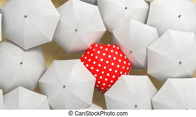 Red Umbrella Wades Through a Flow of White Umbrellas, Leader and the Crowd Concept. Beautiful 3d Animation, 4K Ultra HD