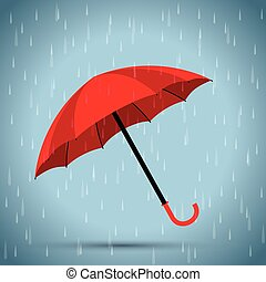 red umbrella with a rain background