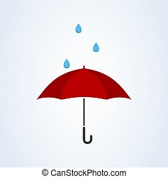 Red umbrella with rain flat style. Vector illustration icon isolated on white background.