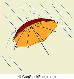 red umbrella with raindrops on beige background
