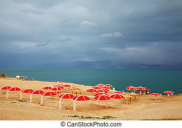 Red umbrellas and green sea