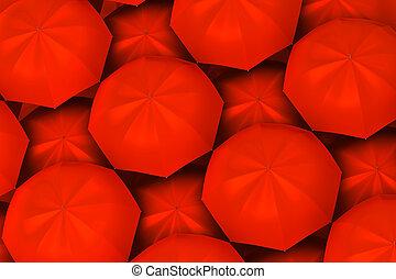 Red umbrellas background