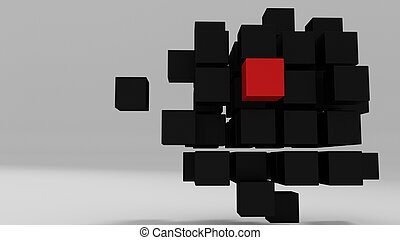 Red unique cube among other boxes in 3d space 3d render