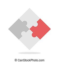 Red unique puzzle piece