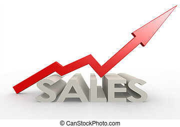 Red upward arrow with sales word