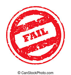 Red used Fail stamp - Used red fail stamp, isolated on white...