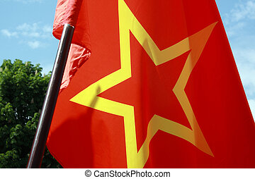 red USSR flag with yellow star